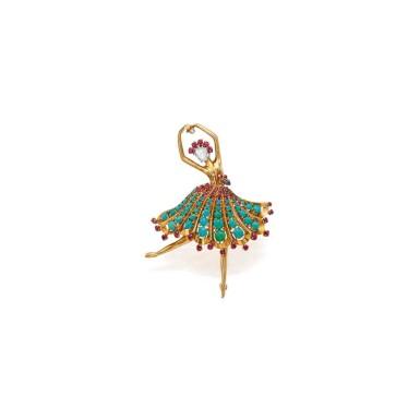 View 1. Thumbnail of Lot 133. Van Cleef & Arpels [梵克雅寶] | Gold, Turquoise, Ruby, Sapphire and Diamond 'Ballerina' Clip-Brooch [黃金鑲綠松石配紅寶石、藍寶石及鑽石「Ballerina」別針].