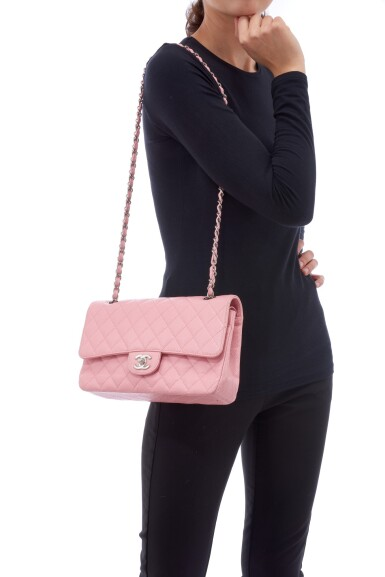 View 5. Thumbnail of Lot 144. ROSE PINK CAVIAR LEATHER AND SILVER-TONE METAL CLASSIC SHOULDER BAG, CHANEL.