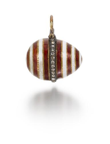 View 2. Thumbnail of Lot 8. A Fabergé jewelled gold and guilloché enamel egg pendant, workmaster Henrik Wigström, St Petersburg, circa 1910.