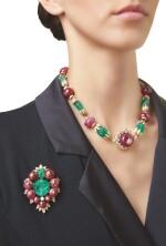 RUBY, EMERALD AND DIAMOND PENDANT-NECKLACE, VAN CLEEF & ARPELS | 紅寶石配祖母綠及鑽石吊墜項鏈,梵克雅寶