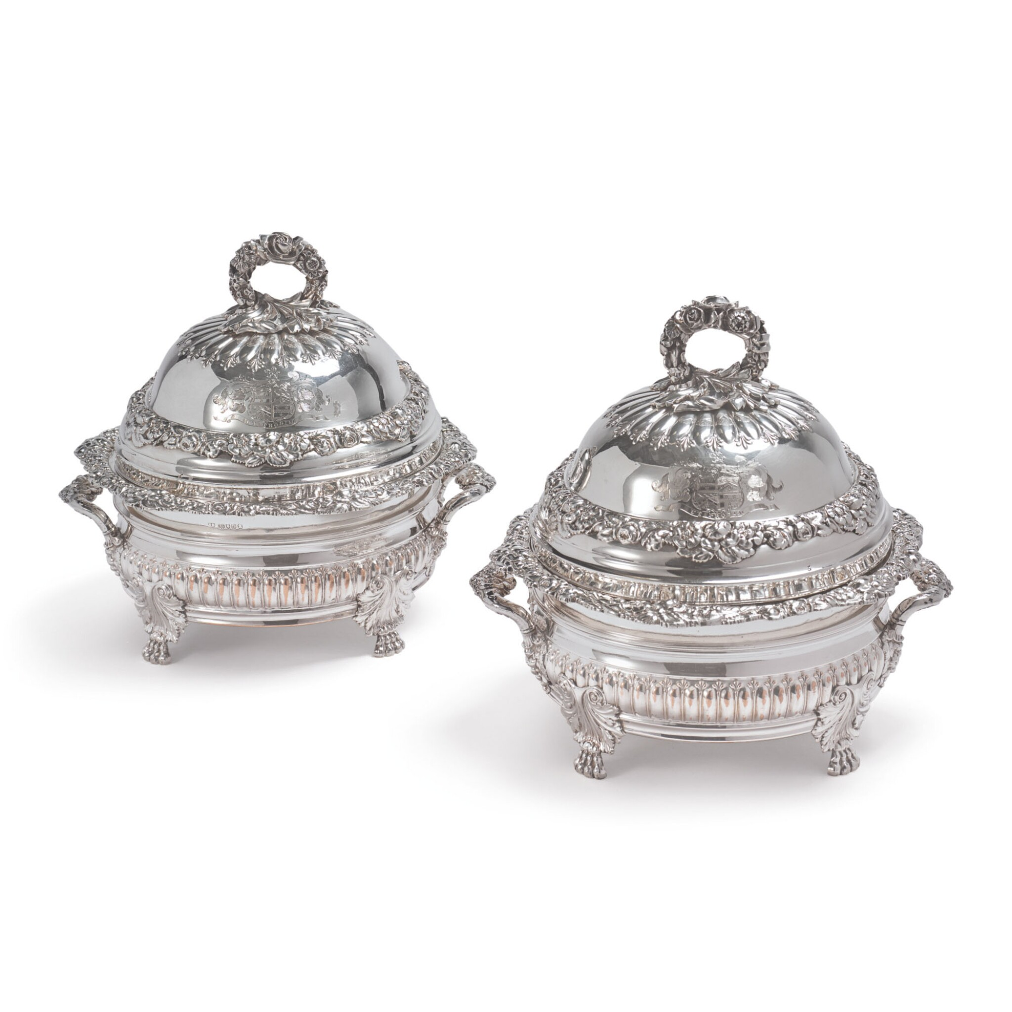 THE FOLEY SERVICE: A PAIR OF REGENCY SILVER ENTRÉE DISHES AND COVERS ON PLATED WARMING STANDS, BENJAMIN SMITH III, LONDON, 1819