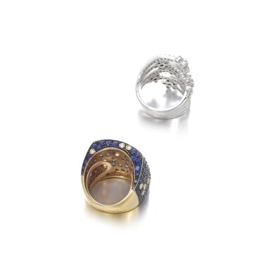 View 3. Thumbnail of Lot 104. Diamond ring and a sapphire and diamond ring.