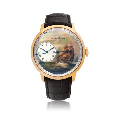 ARNOLD & SON | 'INDIAMEN', REF 12.2.3.01, PINK GOLD WRISTWATCH WITH DEAD SECONDS AND HAND PAINTED MOTHER-OF-PEARL DIAL   CIRCA 2013