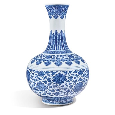 View 2. Thumbnail of Lot 147. A Ming-style blue and white bottle vase, Qianlong seal mark and period   清乾隆 青花纏枝蓮紋賞瓶  《大清乾隆年製》款.