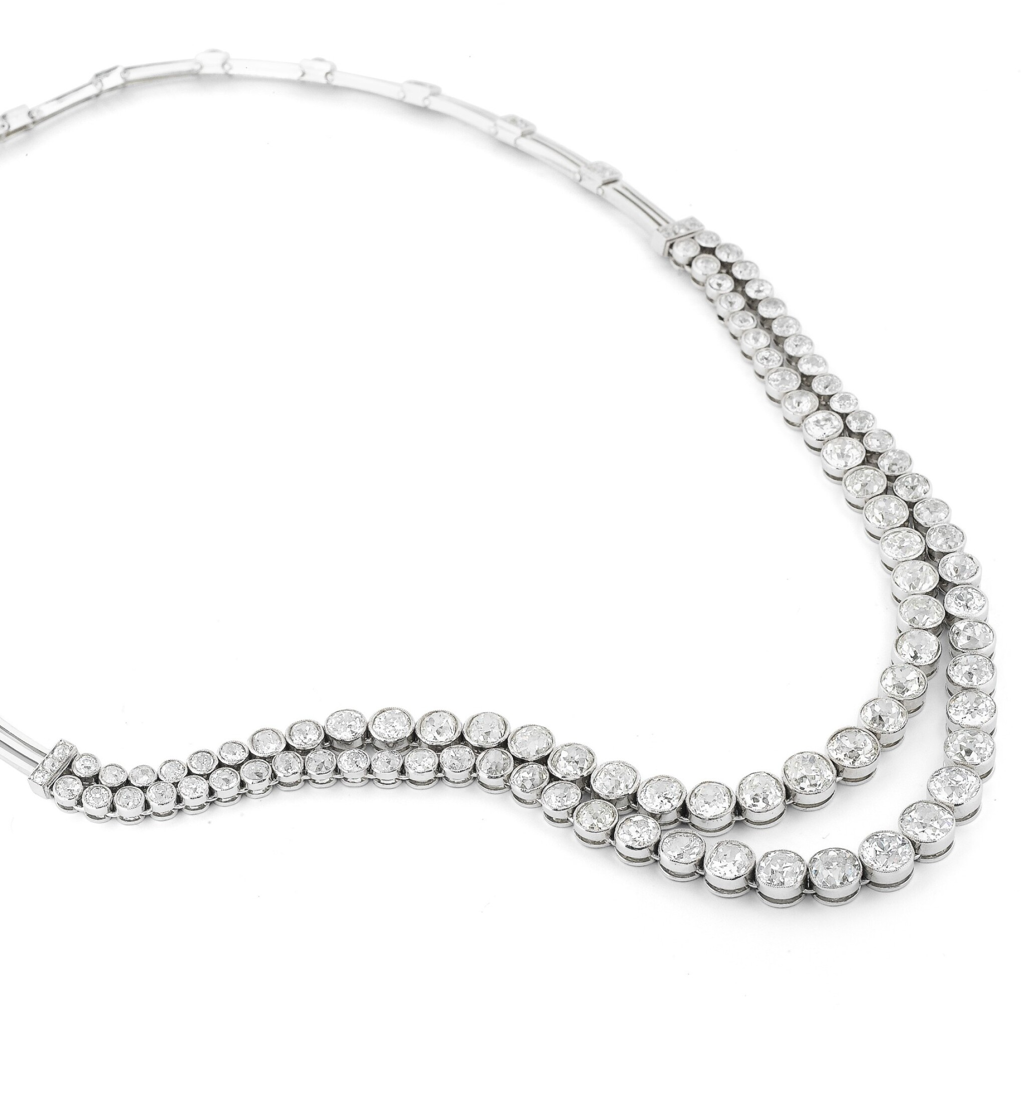 View full screen - View 1 of Lot 48. Collier diamants | Diamond necklace.
