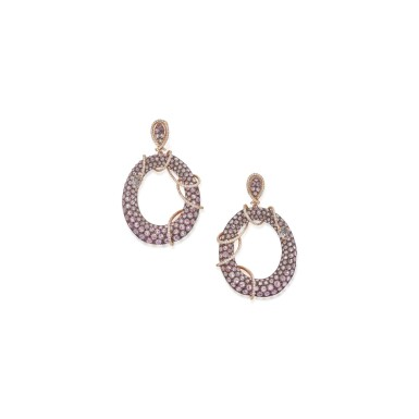 PAIR OF PINK SAPPHIRE, WHITE SAPPHIRE AND DIAMOND PENDANT-EARCLIPS