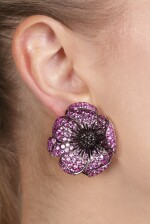 Pair of amethyst, pink sapphire and diamond ear clips, 'Anemoni', Michele della Valle