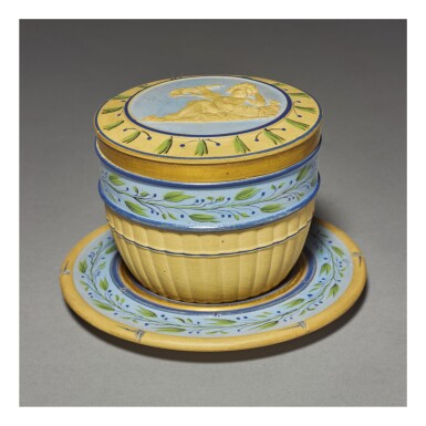 A WEDGWOOD CANEWARE PART-BAMBOO-MOLDED BOX, COVER AND STAND CIRCA 1790