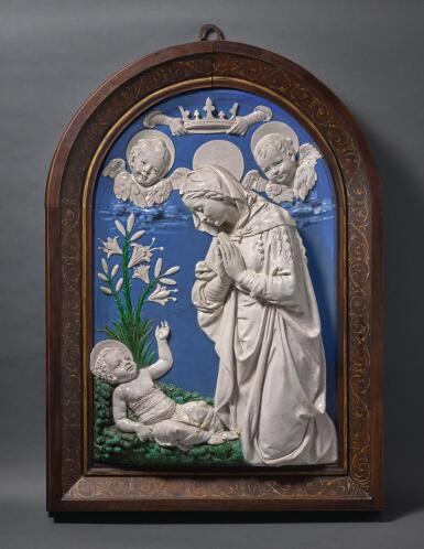 WORKSHOP OF ANDREA DELLA ROBBIA (1435-1525), ITALIAN, FLORENCE, LATE 15TH/ EARLY 16TH CENTURY | MADONNA ADORING THE INFANT CHRIST
