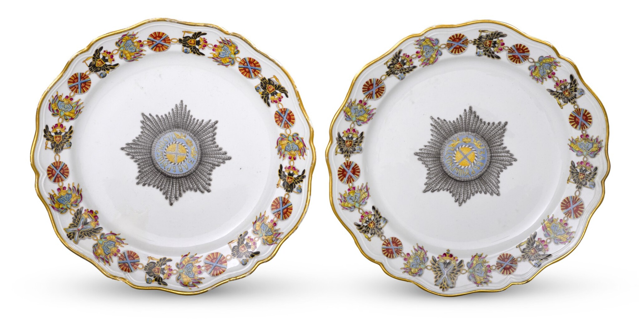 View full screen - View 1 of Lot 117. Two Porcelain Plates from the Service for the Imperial Order Of St Andrew, Gardner Porcelain Factory, Verbilki, circa 1780.
