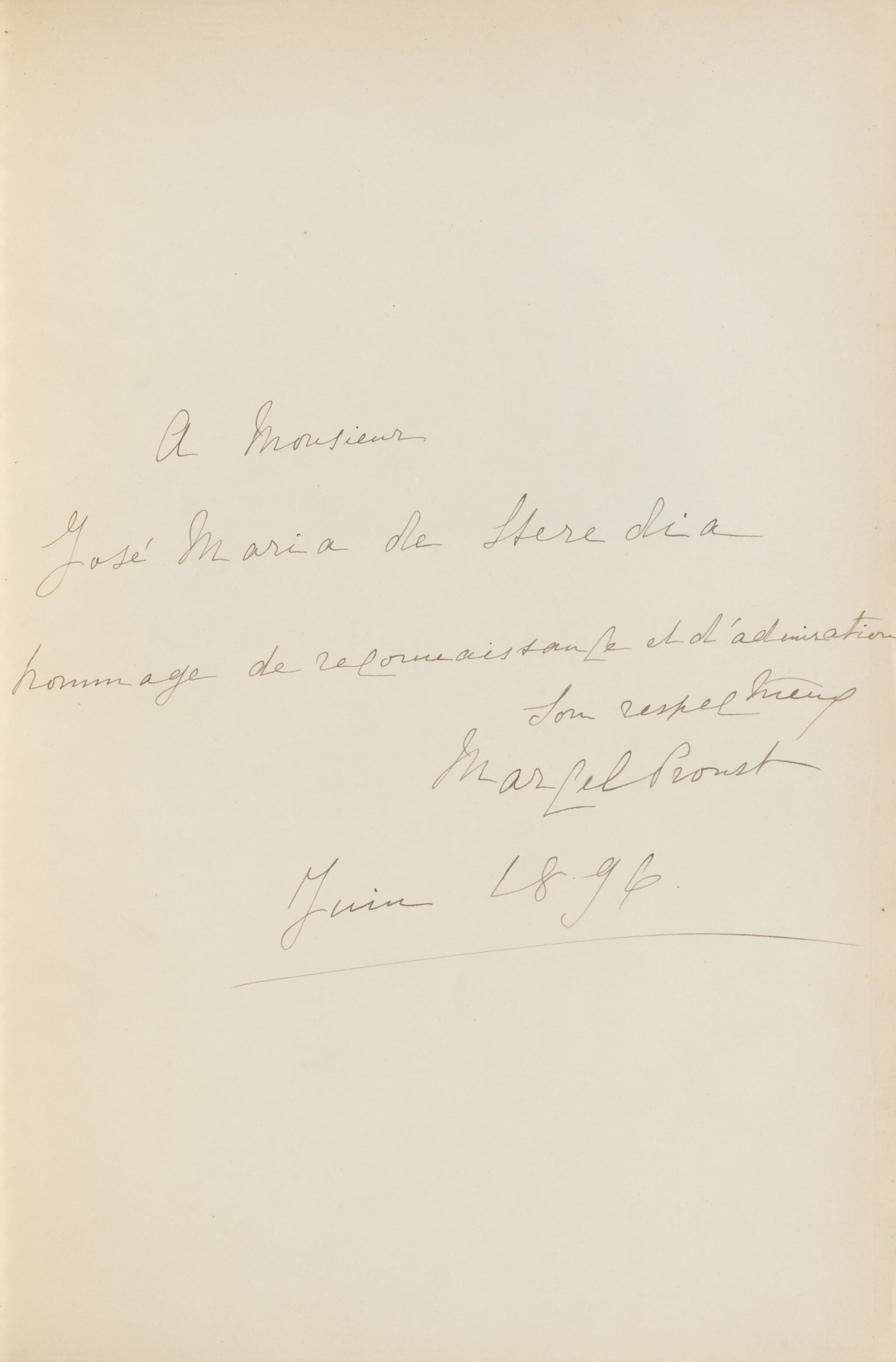 View full screen - View 1 of Lot 172. Les Plaisirs et les Jours. Ex. de Heredia. Avec envoi de Proust et de M. Lemaire, et une aquarelle originale.