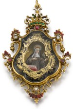 SPANISH, FIRST HALF 18TH CENTURY | Pendant with Miniatures of Saint Joseph with the Christ Child and Saint Clare