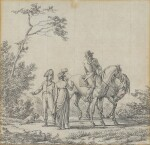 JACQUES-FRANÇOIS-JOSEPH SWEBACH CALLED DESFONTAINES   A gentleman on horseback conversing with a lady and an officer in a landscape