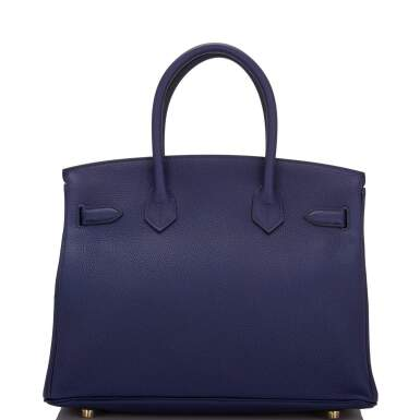 View 4. Thumbnail of Lot 5. HERMÈS   BLUE ENCRE BIRKIN 30CM OF TOGO LEATHER WITH GOLD HARDWARE.