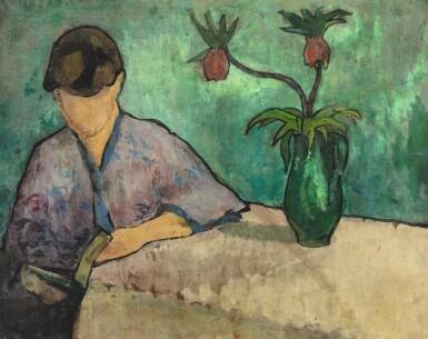 View 1. Thumbnail of Lot 30. Jeune femme lisant en kimono.
