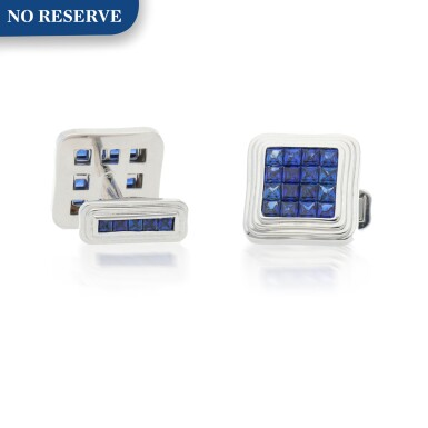 View 1. Thumbnail of Lot 430. PAIR OF SAPPHIRE CUFFLINKS.