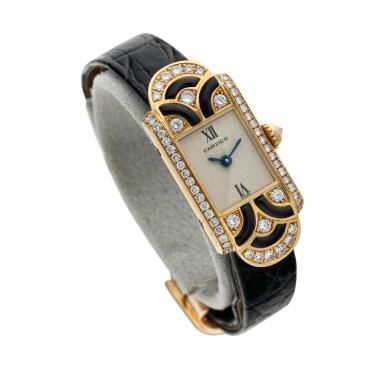 View 3. Thumbnail of Lot 94.  Reference 1361 A yellow gold enamel and diamond-set wristwatch, Circa 1990 .