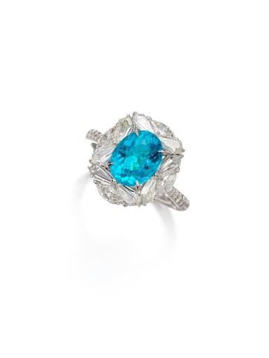 View 4. Thumbnail of Lot 1727. Paraíba Tourmaline and Diamond Ring | 1.98克拉「巴西」帕拉伊巴 配 鑽石 戒指.