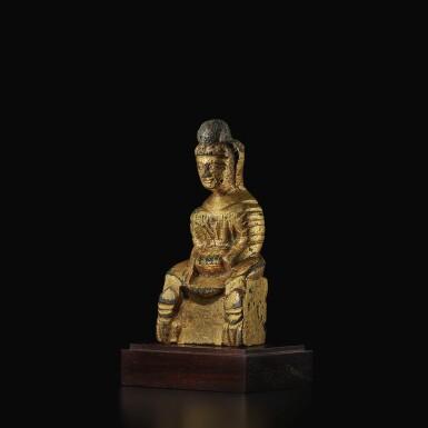 View 2. Thumbnail of Lot 587. A SMALL GILT-BRONZE FIGURE OF BUDDHA,  SIXTEEN KINGDOMS PERIOD.