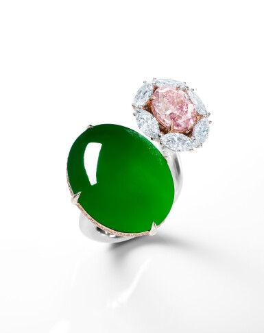 View 1. Thumbnail of Lot 1745. DESIGNED BY NICHOLAS LIEOU | A UNIQUE AND RARE JADEITE, FANCY VIVID PURPLISH PINK DIAMOND AND DIAMOND RING | 劉孝鵬設計 | 獨一無二 天然「帝王綠」翡翠 及 2.08卡拉 艷彩紫粉紅色鑽石 配 鑽石 戒指.