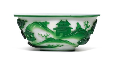 View 3. Thumbnail of Lot 1020. A GREEN OVERLAY WHITE GLASS 'FIGURAL' BOWL, QING DYNASTY, 19TH CENTURY.