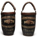 VERY FINE AND RARE PAIR OF SAMUEL TRASK UNION FIRE SOCIETY LEATHER PAINT-DECORATED FIRE BUCKETS, SIGNED BY MAKER AARON FITZ, PORTLAND, MAINE, 1803
