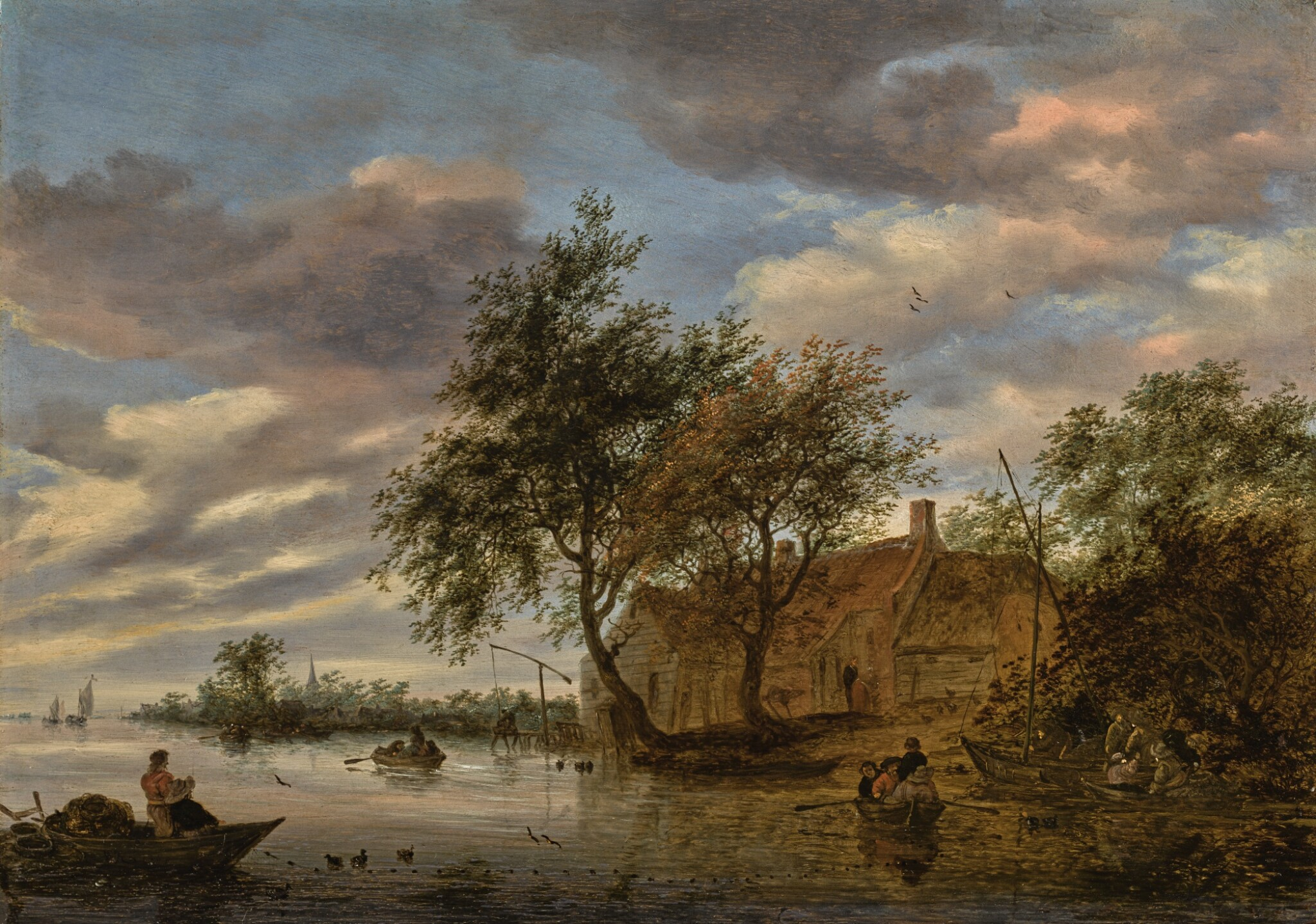 View full screen - View 1 of Lot 136. SALOMON VAN RUYSDAEL   River landscape with figures in rowing boats, and fishermen hauling a net in the foreground.