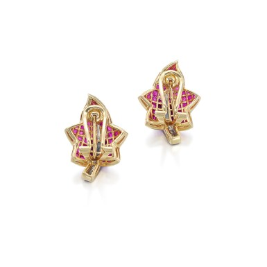View 3. Thumbnail of Lot 57. Pair of ruby and diamond ear clips.