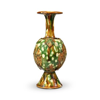 View 4. Thumbnail of Lot 172. A rare sancai-glazed pottery bottle vase, Tang dynasty   唐 三彩貼花瓶.