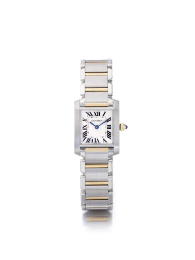 CARTIER | TANK FRANCAISE REF 2384, A LADY'S STAINLESS STEEL AND YELLOW GOLD WRISTWATCH WITH BRACELET CIRCA 2005