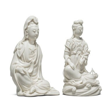 View 3. Thumbnail of Lot 39. Two 'Dehua' figures of seated Guanyin, 20th century.