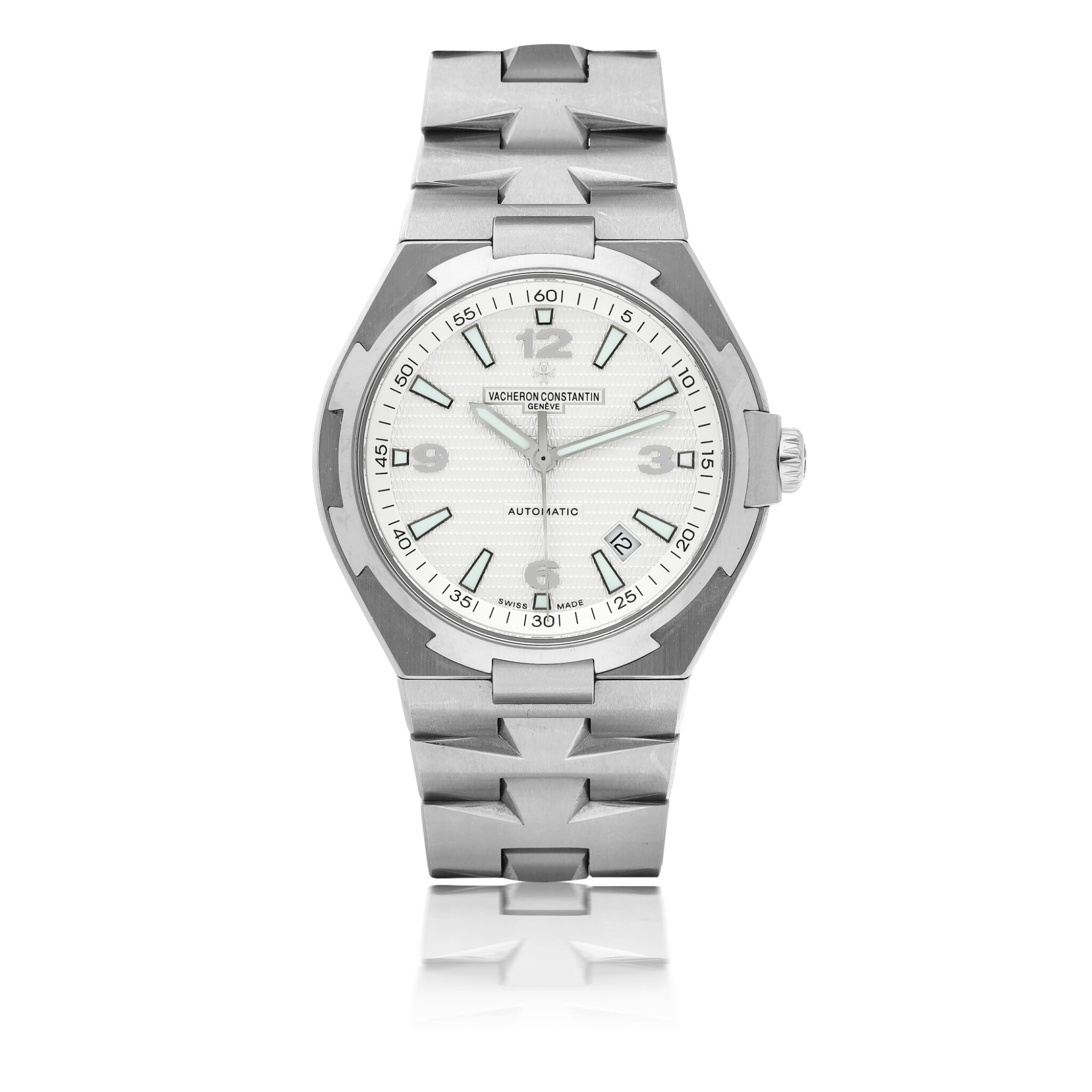 View full screen - View 1 of Lot 185.  VACHERON CONSTANTIN   REF 47040 OVERSEAS, A STAINLESS STEEL AUTOMATIC CENTER SECONDS WRISTWATCH WITH DATE AND BRACELET CIRCA 2010.