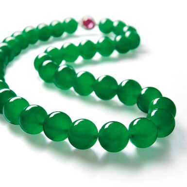 View 2. Thumbnail of Lot 1808. AN EXTRAORDINARY 'IMPERIAL JADE' JADEITE BEAD, RUBY AND DIAMOND NECKLACE  超凡極品「帝王玉」天然翡翠珠 配 紅寶石 及 鑽石 項鏈.