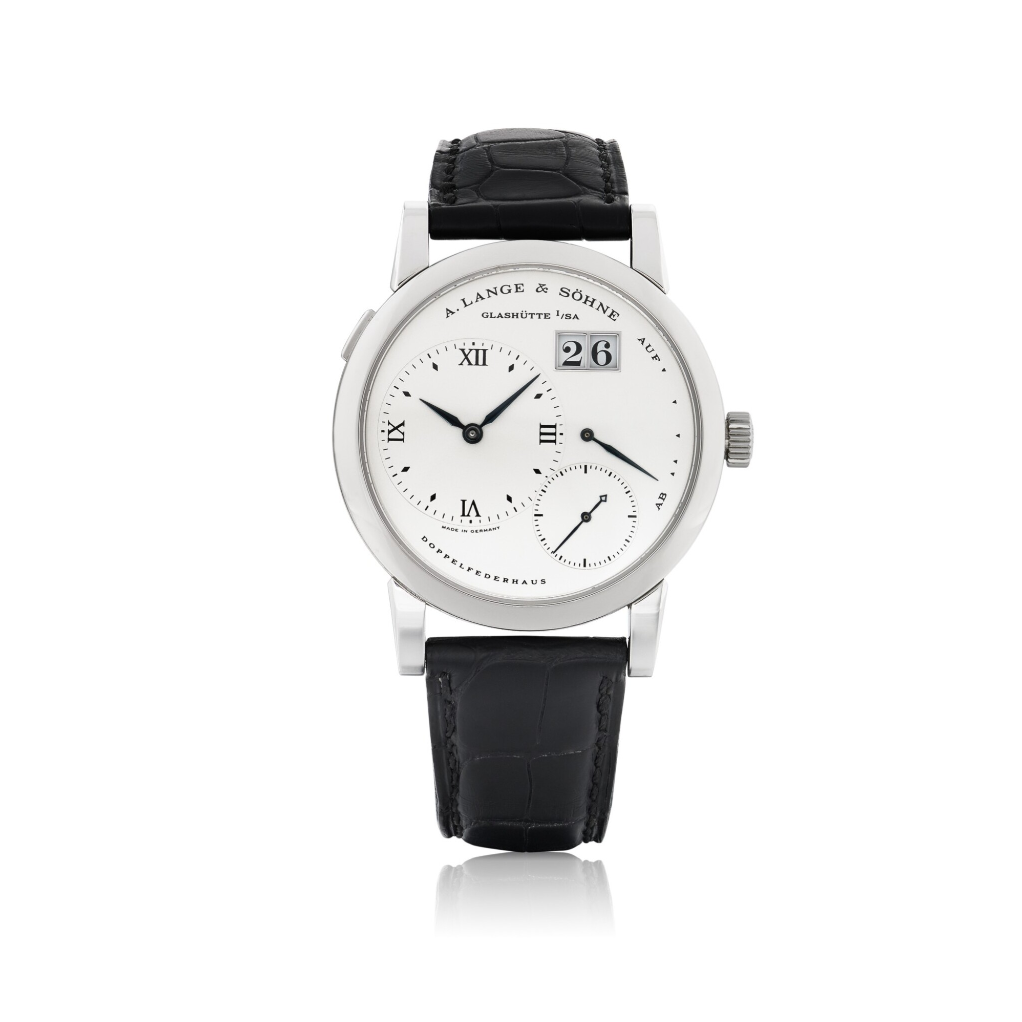 View full screen - View 1 of Lot 401. A. LANGE & SÖHNE | LANGE 1, REF 101.026 STAINLESS STEEL WRISTWATCH WITH DATE AND POWER RESERVE INDICATION CIRCA 1998.