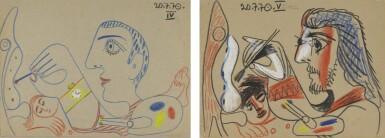 View 1. Thumbnail of Lot 115. Le Peintre et son modèle (A Double-Sided Drawing).
