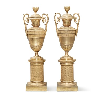 View 3. Thumbnail of Lot 102. A Pair of Restauration Gilt Bronze Vases, 19th Century.