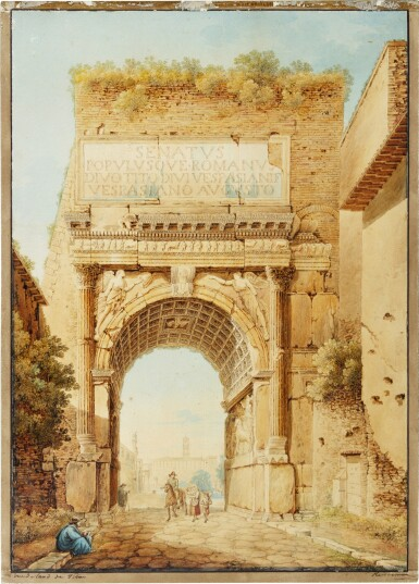 View 1. Thumbnail of Lot 68. View of the Arch of Titus, Rome.