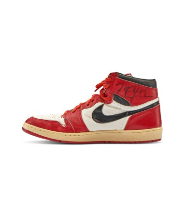 View 7. Thumbnail of Lot 1. Michael Jordan's Game Worn 1985 Player Sample Air Jordan 1s | Sizes 13, 13.5.