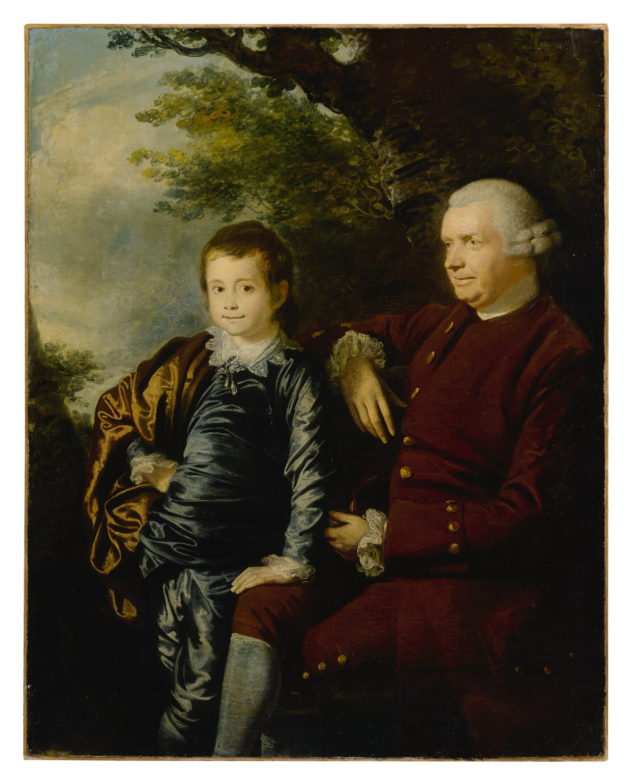 View full screen - View 1 of Lot 656. Portrait of a gentleman and a boy in a landscape.