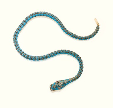 View 1. Thumbnail of Lot 41. A GOLD, ENAMEL, AND JEWELED SERPENT NECKLACE, CIRCA 1875.