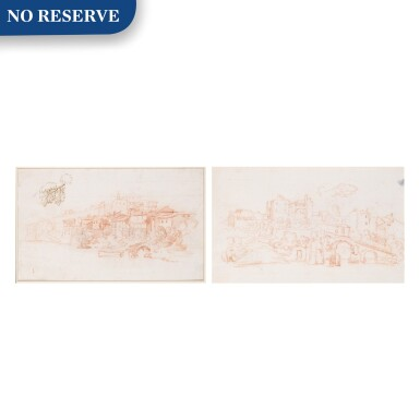 View 1. Thumbnail of Lot 129. Recto and Verso: A View Along the River Tiber.