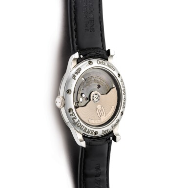View 3. Thumbnail of Lot 2218. F.P. Journe | Octa Jour et Nuit, A limited edition platinum wristwatch with ruthenium dial, ruthenium-coated brass movement, date, power reserve and day and night indication, Circa 2003 | Octa Jour et Nuit  限量版鉑金腕錶,備釕金屬錶盤、釕金屬塗層銅製機芯、日期、動力儲備及晝夜顯示,約2003年製.