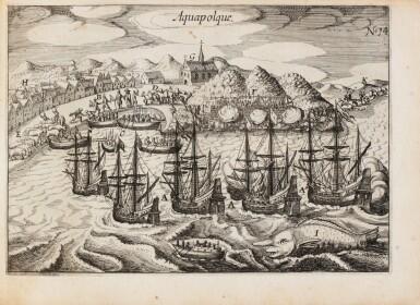 View 1. Thumbnail of Lot 199. SPILBERGEN. Speculum orientalis occidentalisque Indiae navigationum. Leyde, 1619. In-8 oblong. Vélin de l'ep..