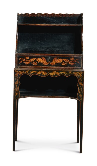 View 2. Thumbnail of Lot 130. A REGENCY BLACK AND GOLD JAPANNED SMALL ETAGERE, FIRST HALF 19TH CENTURY.
