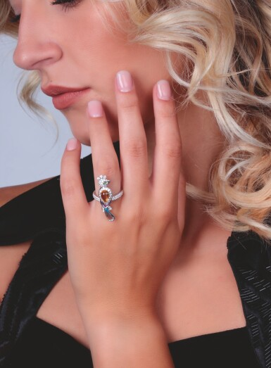 View 4. Thumbnail of Lot 13. GEM SET AND DIAMOND RING, MICHELE DELLA VALLE.