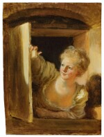 JEAN HONORÉ FRAGONARD | A YOUNG WOMAN LEANING OUT OF A WINDOW