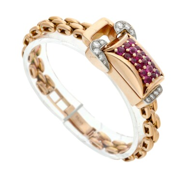 View 4. Thumbnail of Lot 163. A pink gold diamond and ruby-set concealed bracelet watch, Circa 1940.