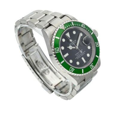View 3. Thumbnail of Lot 203. Reference 16610 Submariner 'Kermit'   A stainless steel automatic wristwatch with date and bracelet, Circa 2006.
