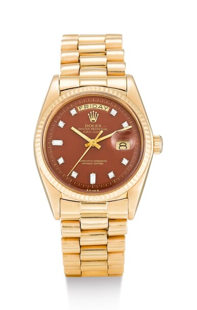 ROLEX | DAY-DATE, REFERENCE 1803, A PINK GOLD AND DIAMOND-SET WRISTWATCH WITH DAY, DATE, BROWN TOBACCO LACQUERED STELLA DIAL AND BRACELET, CIRCA 1974