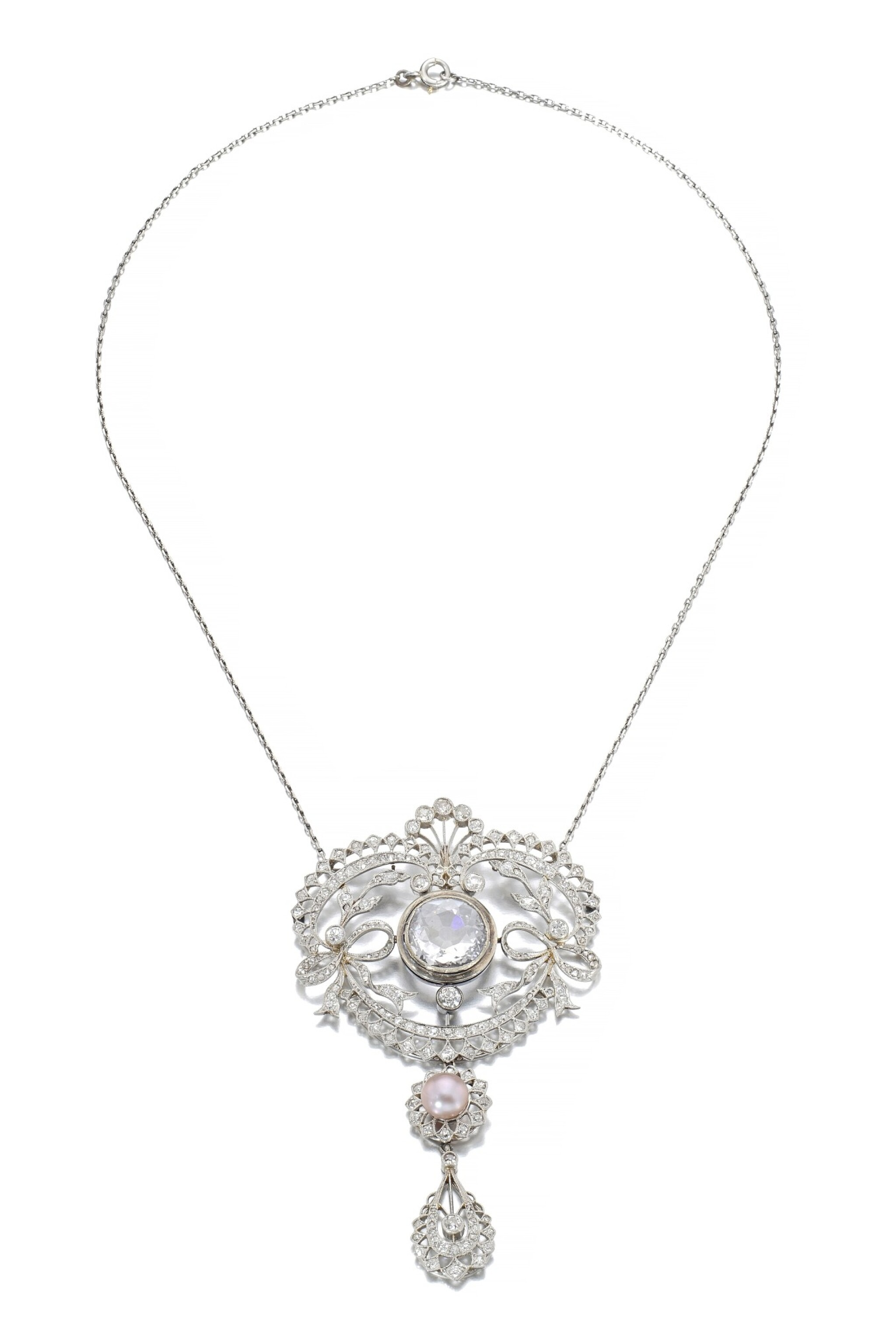 View full screen - View 1 of Lot 678. Faint Pink diamond and natural pearl pendant/necklace combination, circa 1900 | 淡粉紅色鑽石配天然珍珠吊墜/系列組合,約1900年.